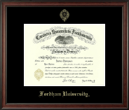 Fordham University Diploma Frame - Gold Embossed Diploma Frame in Studio