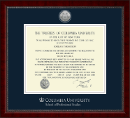 Columbia University Diploma Frame - Silver Engraved Medallion Diploma Frame in Sutton