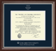 Columbia University Diploma Frame - Silver Embossed Diploma Frame in Devonshire