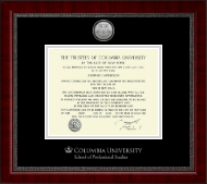 Columbia University Certificate Frame - Silver Engraved Medallion Certificate Frame in Sutton