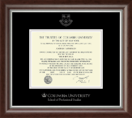 Columbia University Certificate Frame - Silver Embossed Certificate Frame in Devonshire