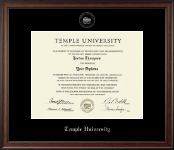 Temple University Diploma Frame - Silver Embossed Diploma Frame in Studio