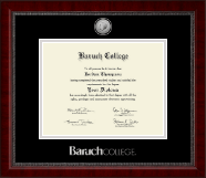 Baruch College Diploma Frame - Silver Engraved Medallion Diploma Frame in Sutton