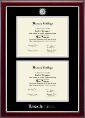 Baruch College Diploma Frame - Double Document Masterpiece Frame in Gallery Silver