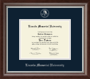 Lincoln Memorial University Diploma Frame - Silver Embossed Diploma Frame in Devonshire