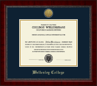 Wellesley College Diploma Frame - Gold Engraved Medallion Diploma Frame in Sutton