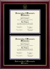 University of Wisconsin Whitewater Diploma Frame - Double Diploma Frame in Gallery