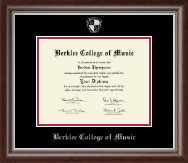 Berklee College of Music Diploma Frame - Silver Embossed Diploma Frame in Devonshire