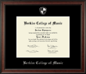 Berklee College of Music Diploma Frame - Silver Embossed Diploma Frame in Studio