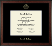 Lasell College Diploma Frame - Gold Embossed Diploma Frame in Studio