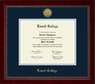 Lasell College Diploma Frame - Gold Engraved Medallion Diploma Frame in Sutton