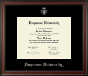 Duquesne University Diploma Frame - Silver Embossed Diploma Frame in Studio