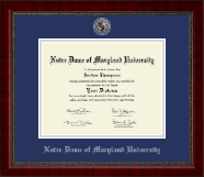 Notre Dame of Maryland University  Diploma Frame - Silver Engraved Medallion Diploma Frame in Sutton