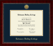 Lebanon Valley College Diploma Frame - Gold Engraved Medallion Diploma Frame in Sutton