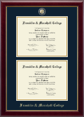 Franklin & Marshall College Diploma Frame - Masterpiece Medallion Double Diploma Frame in Gallery