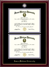 James Madison University Diploma Frame - Masterpiece Medallion Double Diploma Frame in Gallery