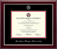 Southern Oregon University Diploma Frame - Silver Embossed Diploma Frame in Gallery Silver