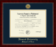Howard University School of Law Diploma Frame - Gold Engraved Medallion Diploma Frame in Sutton