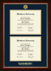 Washburn University Diploma Frame - Gold Engraved Double Diploma Frame in Murano