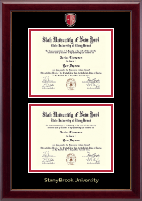 Stony Brook University Diploma Frame - Masterpiece Medallion Double Diploma Frame in Gallery