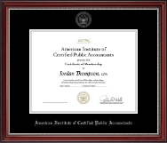 American Institute of Certified Public Accountants Certificate Frame - Silver Embossed Certificate Frame in Kensington Silver