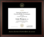 American Institute of Certified Public Accountants Certificate Frame - Gold Embossed Certificate Frame in Studio