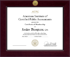 American Institute of Certified Public Accountants Certificate Frame - Century Gold Engraved Certificate Frame in Cordova