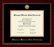 Missouri Western State University Diploma Frame - Gold Engraved Medallion Diploma Frame in Sutton