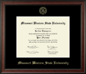 Missouri Western State University Diploma Frame - Gold Embossed Diploma Frame in Studio