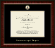 Commonwealth of Virginia Certificate Frame - Masterpiece Medallion Certificate Frame in Murano