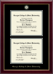 Georgia College & State University Diploma Frame - Masterpiece Medallion Double Diploma Frame in Gallery