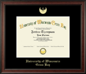 University of Wisconsin Green Bay Diploma Frame - Gold Embossed Diploma Frame in Studio
