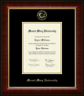 Mount Mary University Diploma Frame - Gold Embossed Diploma Frame in Murano