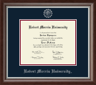 Robert Morris University in Pennsylvania Diploma Frame - Silver Embossed Diploma Frame in Devonshire
