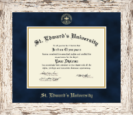 St. Edward's University Diploma Frame - Gold Embossed Diploma Frame in Barnwood White