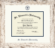 St. Edward's University Diploma Frame - Navy Embossed Diploma Frame in Barnwood White