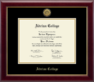 Adrian College Diploma Frame - Gold Engraved Medallion Diploma Frame in Gallery