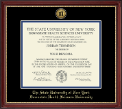 The SUNY Downstate Health Sciences University Diploma Frame - Gold Engraved Medallion Diploma Frame in Kensington Gold