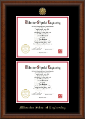 Milwaukee School of Engineering Diploma Frame - Gold Engraved Double Diploma Frame in Austin