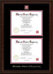 Milwaukee School of Engineering Diploma Frame - MSOE Masterpiece Double Diploma Frame in Lenox