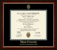 Tulane University School of Medicine Diploma Frame - Gold Embossed Diploma Frame in Murano