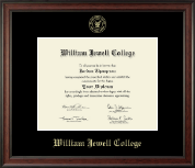 William Jewell College Diploma Frame - Gold Embossed Diploma Frame in Studio