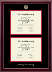 Bradley University Diploma Frame - Masterpiece Medallion Double Diploma Frame in Gallery