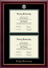Lesley University Diploma Frame - Masterpiece Medallion Double Diploma Frame in Gallery