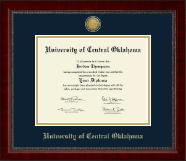 University of Central Oklahoma Diploma Frame - Gold Engraved Medallion Diploma Frame in Sutton