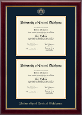 University of Central Oklahoma Diploma Frame - Masterpiece Medallion Double Diploma Frame in Gallery