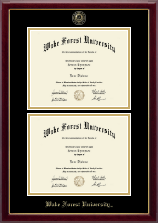 Wake Forest University Diploma Frame - Masterpiece Medallion Double Diploma Frame in Gallery