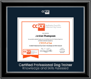 Certification Council for Professional Dog Trainers Certificate Frame - Silver Embossed CPDT-KSA Certificate Frame in Onyx Silver