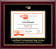 Certification Council for Professional Dog Trainers Certificate Frame - Gold Embossed CPDT-KSA Certificate Frame in Gallery