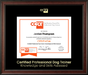 Certification Council for Professional Dog Trainers Certificate Frame - Gold Embossed CPDT-KSA Certificate Frame in Studio